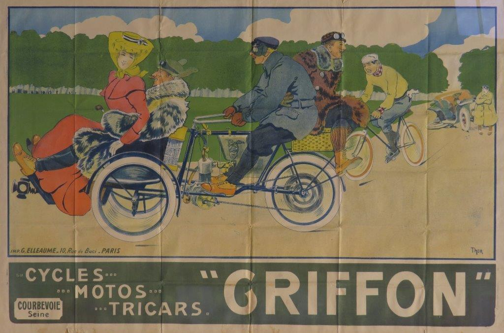 Griffon ca 1904 tricycle original lithographic poster