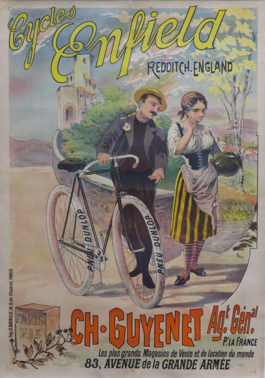Royal Enfield cycles ca 1900 original lithographic poster